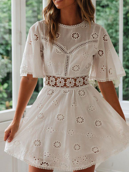 Milanoo Summer Dresses White Jewel Neck Cut Out Sundress