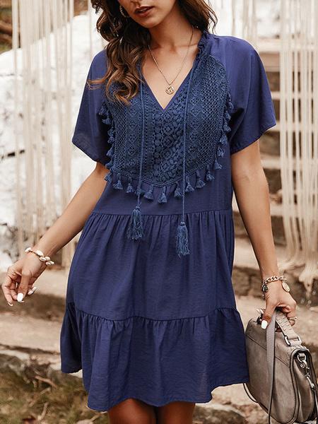 Milanoo Shift Dresses Tassel Short Sleeve Boho Tunic Dress