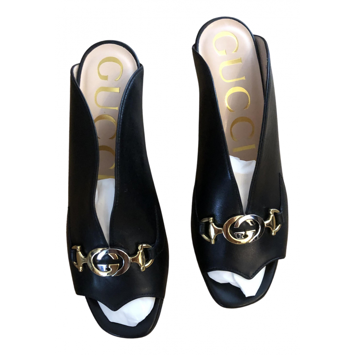 Gucci \N Black Leather Mules & Clogs for Women 36.5 EU