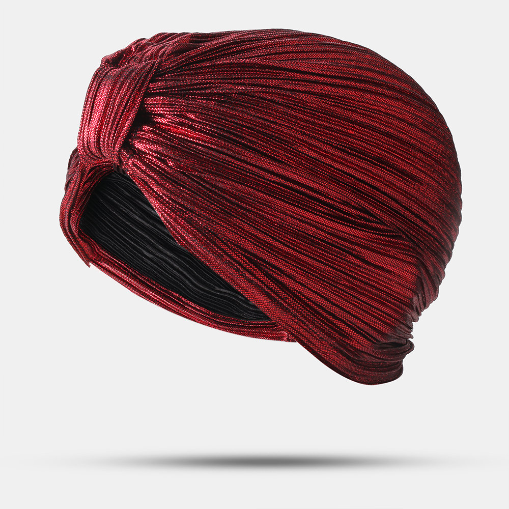 Women Pleated Beanie Hat Solid Color Simple Turban Cap