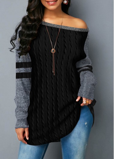 Round Neck Black Long Sleeve Sweatshirt - XXL