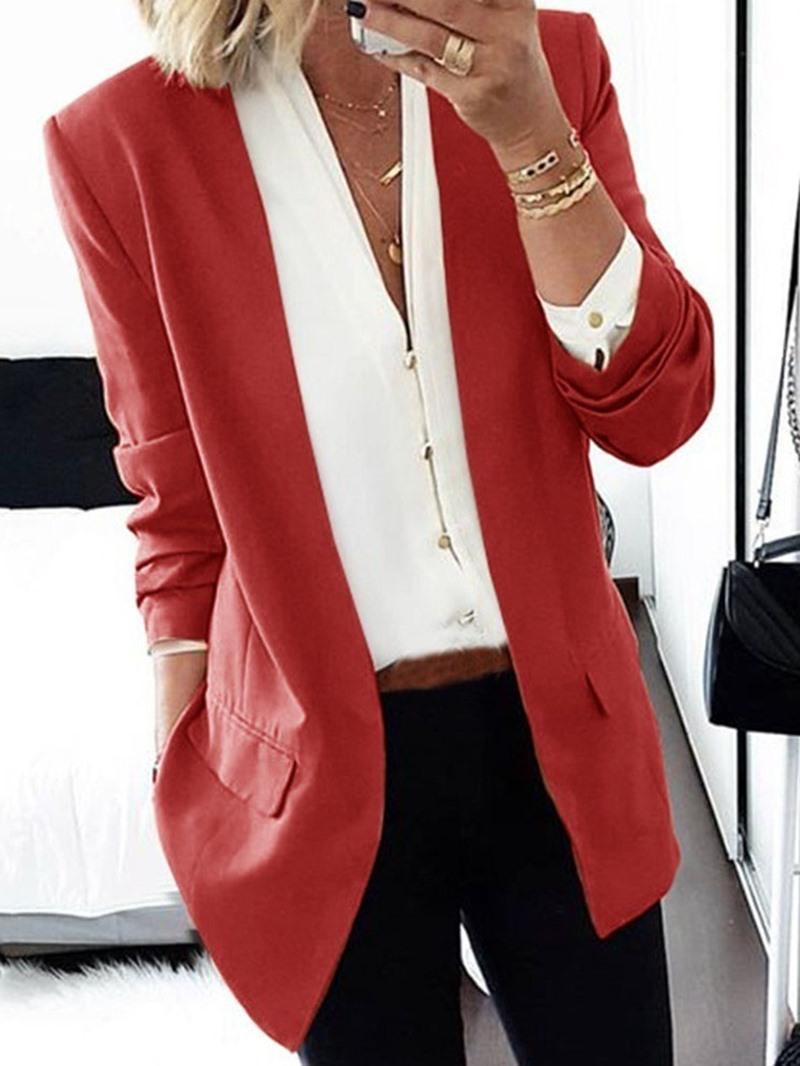 Ericdress Plain Notched Lapel Long Sleeve Mid-Length Regular Casual Blazer