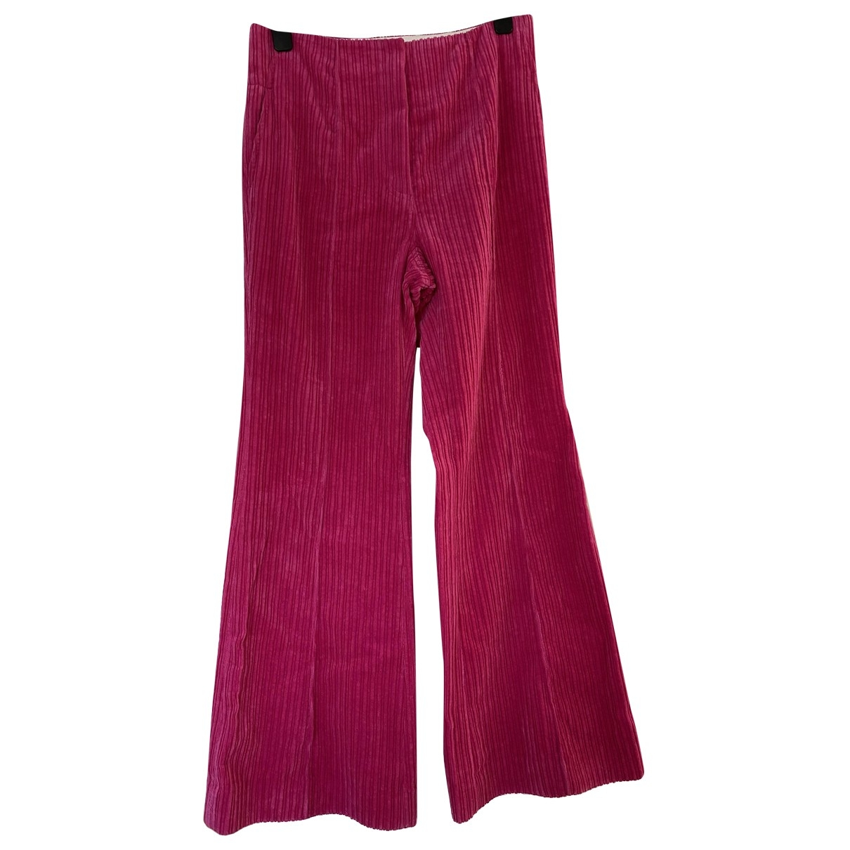 Celine \N Pink Cotton Trousers for Women 38 FR