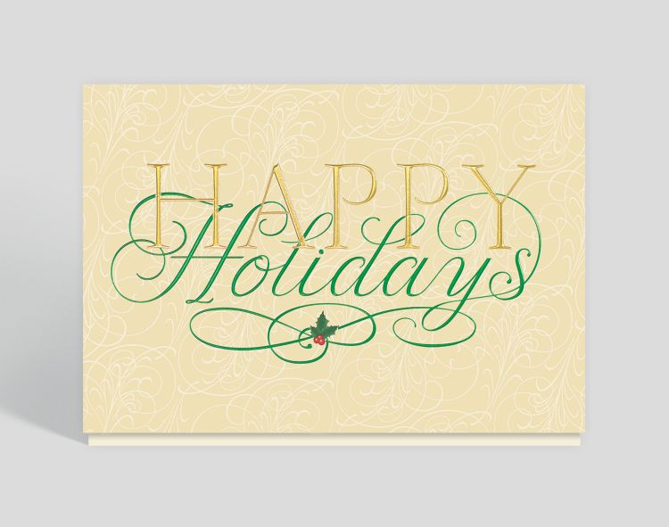 Happy Holidays Snowmen Christmas Card - Business Holiday Cards