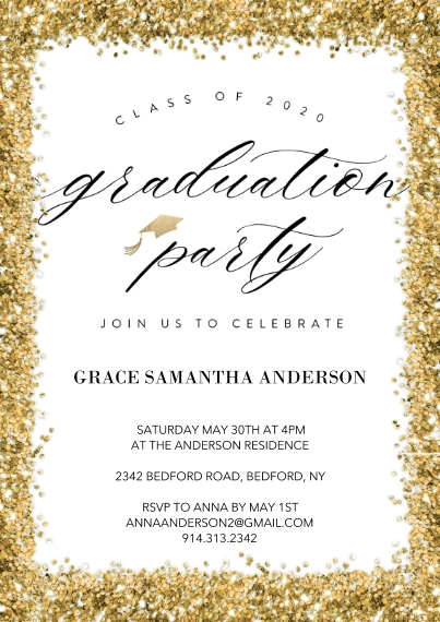 Graduation Invitations 5x7 Cards, Premium Cardstock 120lb with Elegant Corners, Card & Stationery -2020 Graduation Party Invite by Tumbalina