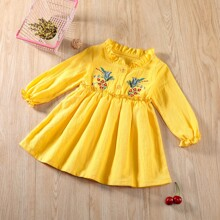 Baby Girl Floral Embroidery Flowy Babydoll Dress