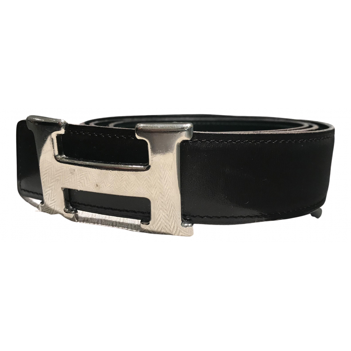 Hermès H Black Leather belt for Men 90 cm