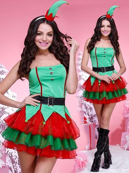 Milanoo Christmas Elf Costume Green Women Strapless Short Dresses Outfit 4 Piece Halloween