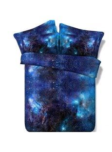 3D Shining Galaxy Digital Printing Blue 5-Piece Comforter Sets