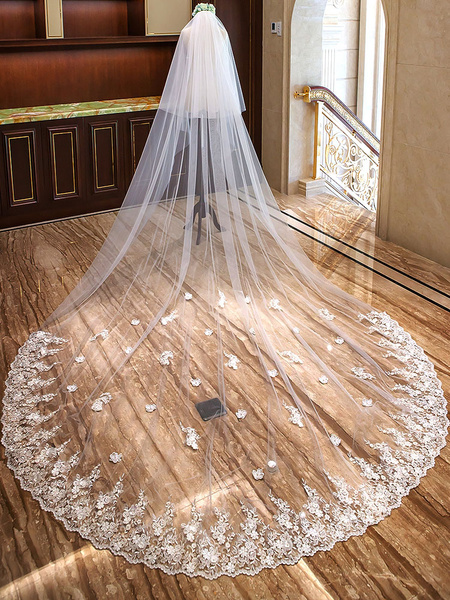 Milanoo Cathedral Wedding Veils Ivory Waterfall Lace Applique Flowers Beaded 2 Tier Long Bridal Veils Hair Accessories