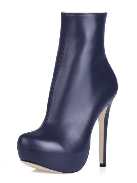 Milanoo High Heel Boots Black Platform Round Toe Zip Up Ankle Boots Women Shoes