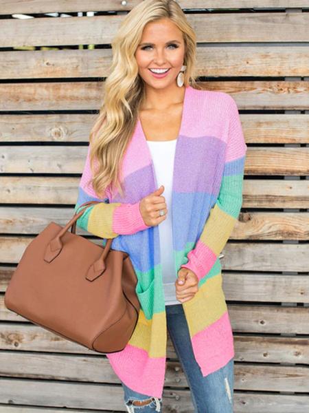 Milanoo Multicolor Cardigans Women Long Sleeve Pockets Open Front Knitwear