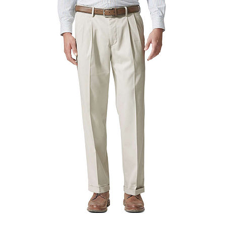Dockers Men's Relaxed Fit Comfort Khaki Cuffed Pants - Pleated D4, 36 31, Brown