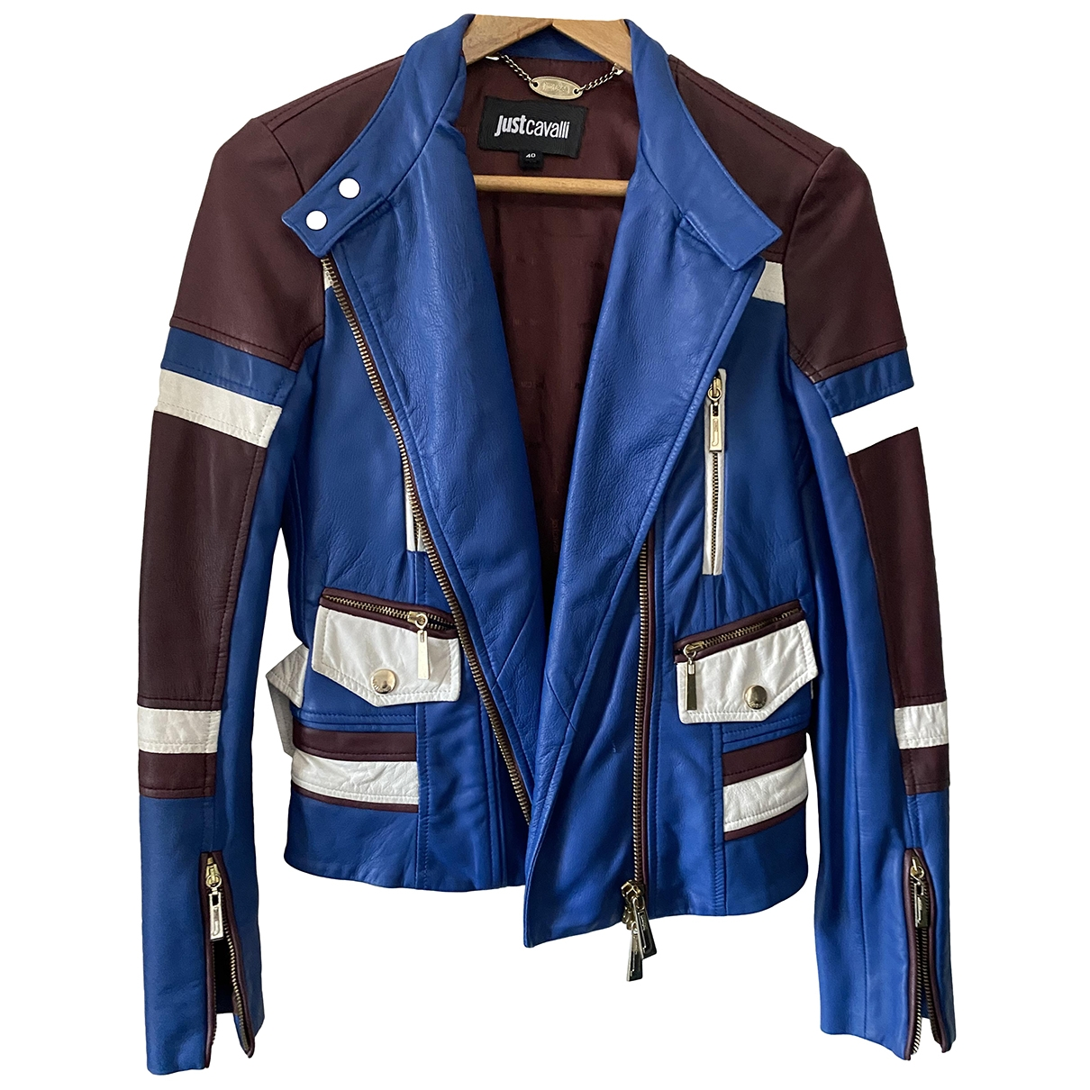 Just Cavalli \N Burgundy Leather Leather jacket for Women 40 IT
