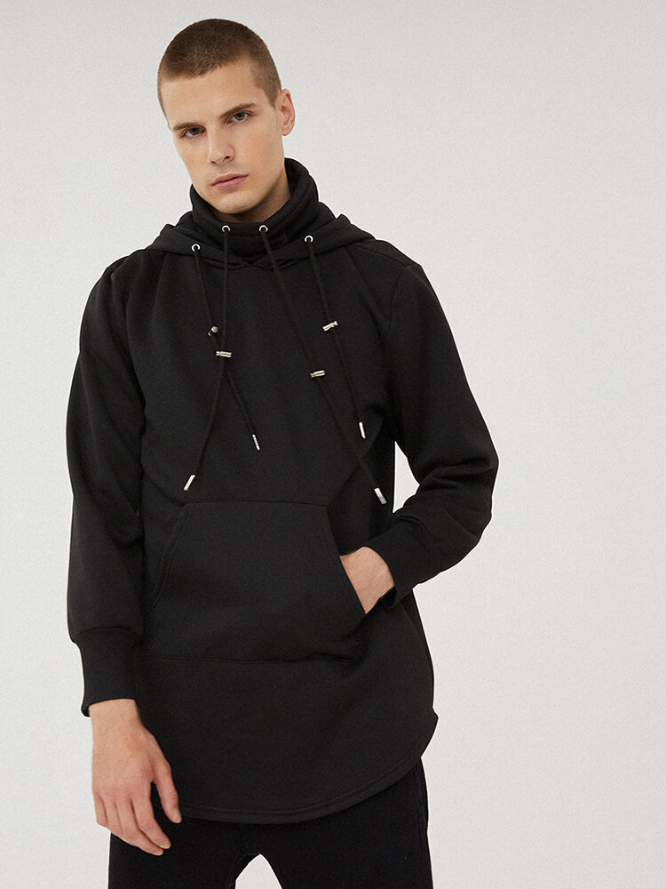 Mens Solid Drawstring High Neck Pullover Hoodies With Kangaroo Pocket