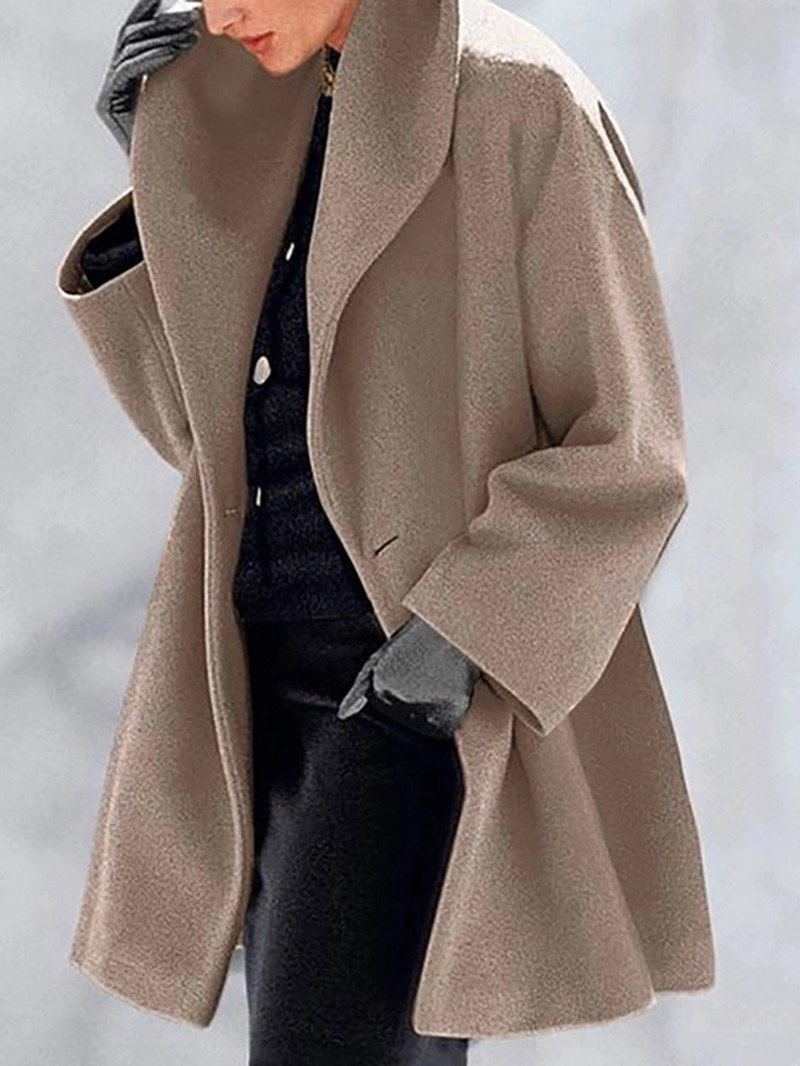 Ericdress Button One Button Loose Mid-Length Overcoat