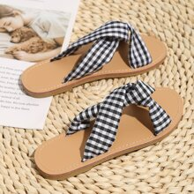 Toddler Girls Cross Strap Gingham Slides