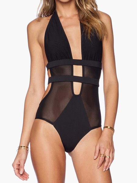 Milanoo One Piece Swimsuits Sexy Black Sheer Backless Plunging Strappy Women Monokini Bathing Suit