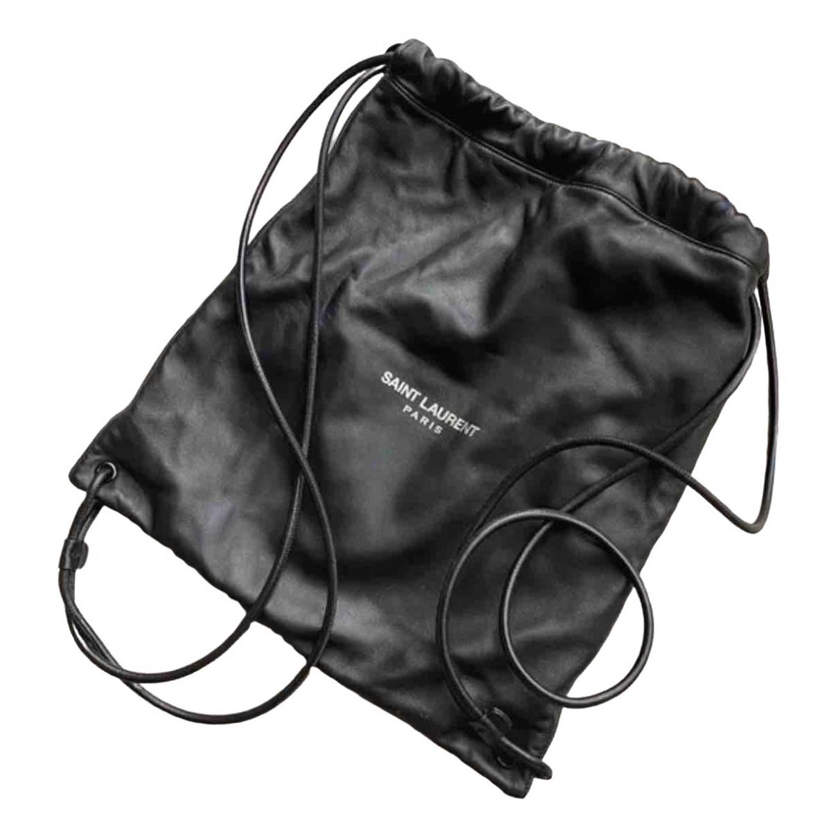 Saint Laurent \N Black Leather backpack for Women \N