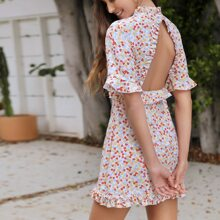 Frilled Open Back Ruffle Trim Ditsy Floral Dress