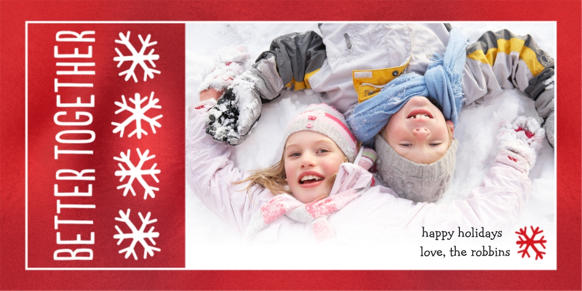 Christmas Photo Cards Flat Matte Photo Paper Cards with Envelopes, 4x8, Card & Stationery -Better Together