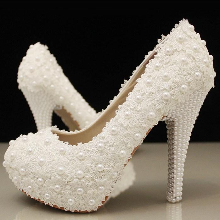 Ericdress Stiletto Heel Lace Round Toe Wedding Shoes