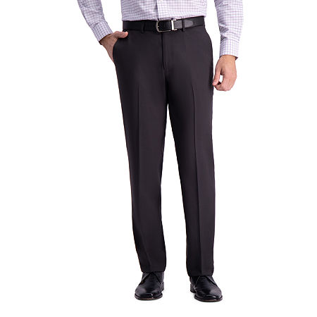 Haggar Premium Comfort Straight Fit Flat Front Dress Pant, 33 30, Black