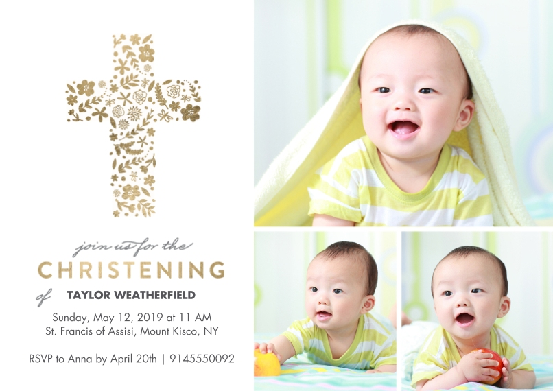 Baptism Invitations 5x7 Cards, Premium Cardstock 120lb with Rounded Corners, Card & Stationery -Baptism Floral Cross