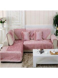 Lovely Pink Plush Thicken Pleuche Design Slip Resistant Sofa Covers
