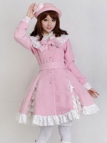 Milanoo Sweet Lolita Overcoat Lace Trim Ruffle Bow Wool Lolita Winter Coat