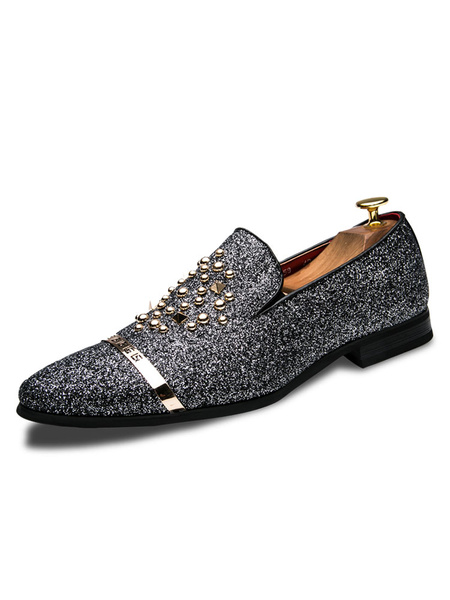 Milanoo Silver Mens Loafers Glitter Leather Shoes Round Toe with Gold Rivets