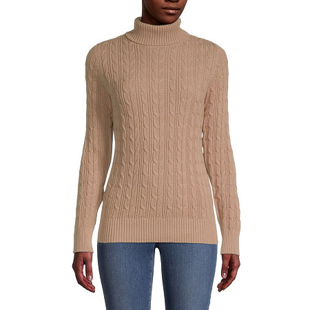 St. John's Bay-Tall Cable Womens Turtleneck Long Sleeve Pullover Sweater, Xx-large Tall , Beige