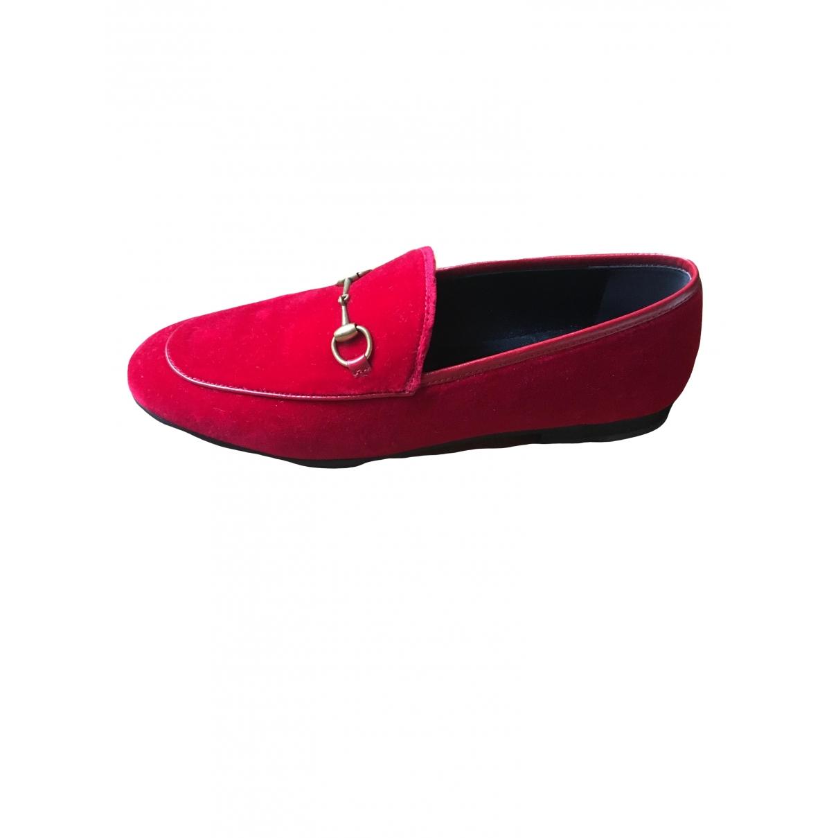 Gucci Jordaan Red Velvet Flats for Women 39 IT