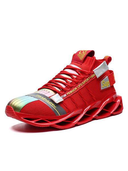 Milanoo Fortnite Ikonik Game Cosplay Sneakers Red Round Toe Lace Up Sport Shoes