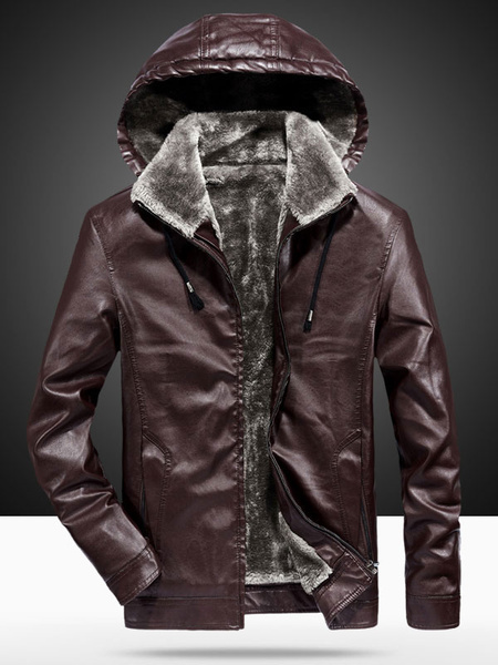 Milanoo Men Leather Jacket Plush Lining Winter Jacket PU Hooded Jacket
