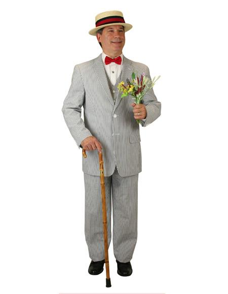 Men's Black ~ White Two Button Double Vents Notch Lapel Suit