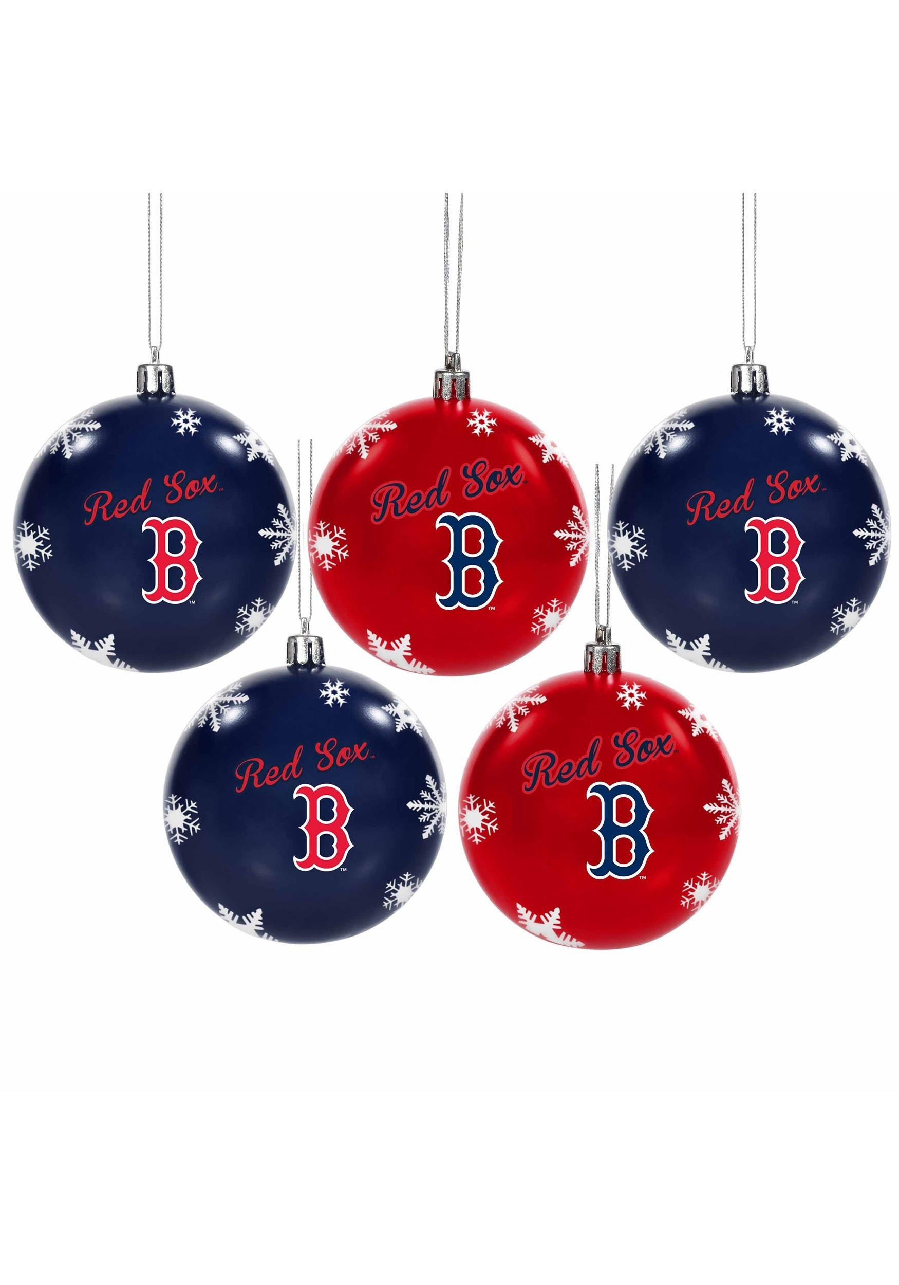 Boston Red Sox Shatterproof 5 Pack Ball Ornament Set