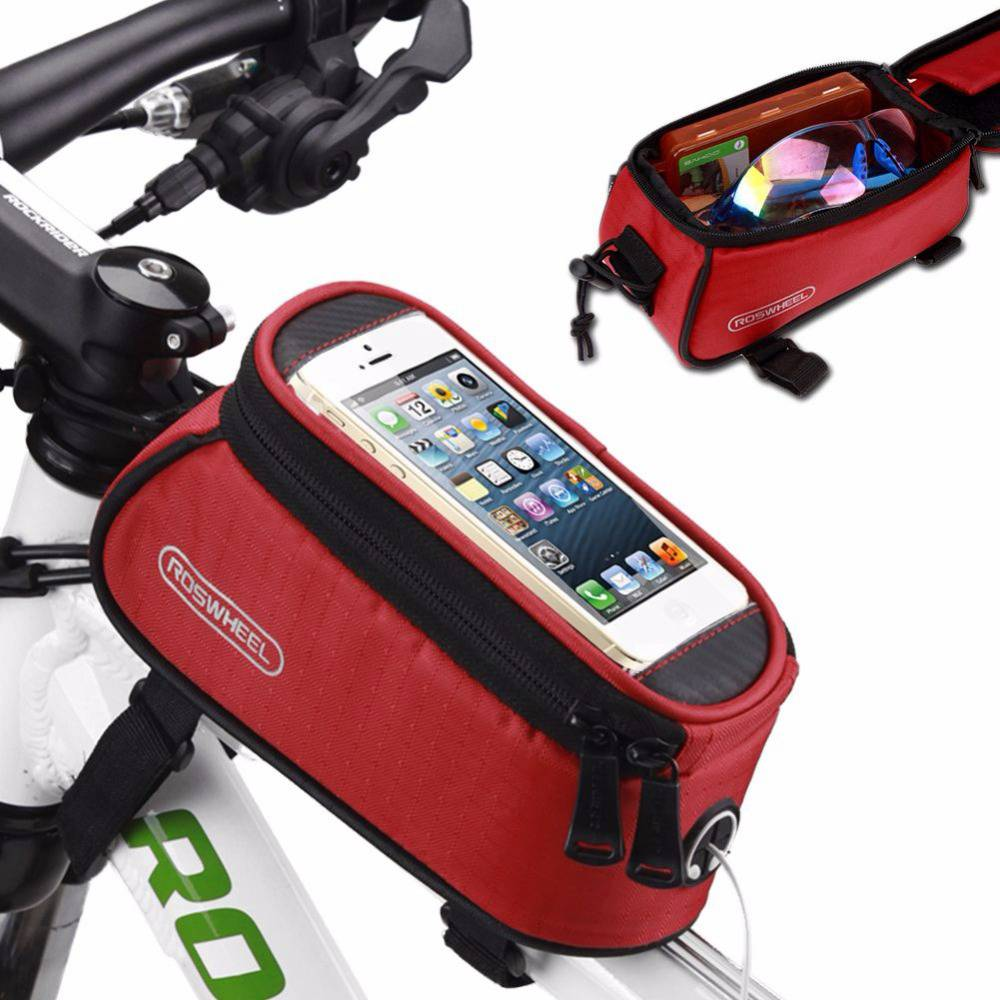 ROSWHEEL 12496 Bicycle Bag 5.5 Inch Outdoor Cycling Waterproof Bicycle Frame Pouch Front Tube Bag - Red