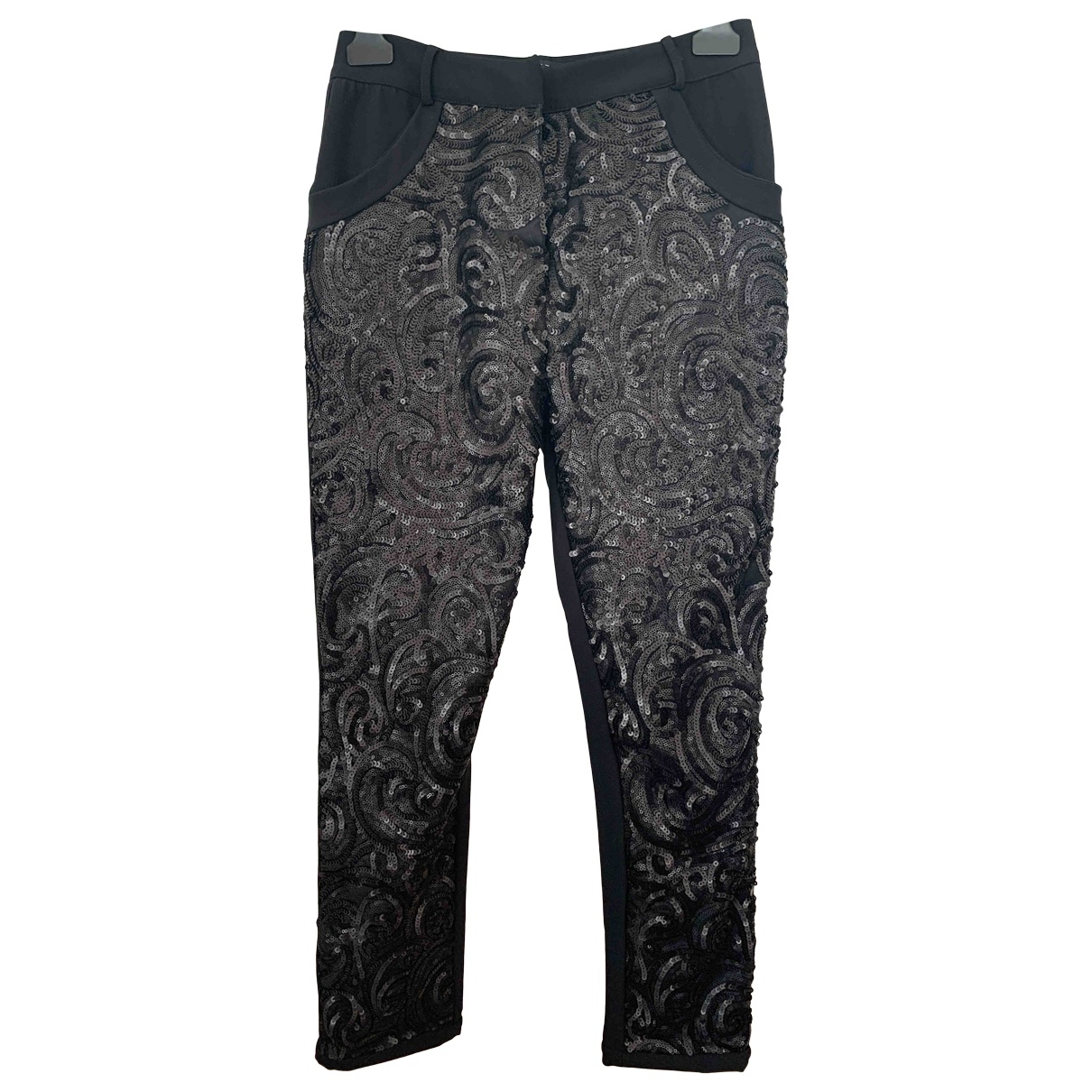 Non Signé / Unsigned \N Black Trousers for Women 40 IT