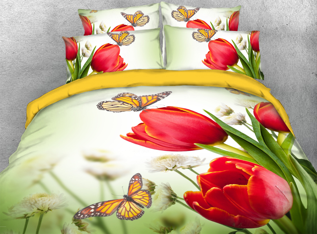 Spring Tulip and Butterflies 3D Pastoral Style Zipper Duvet Cover 4-Piece Soft Floral Bedding Sets with Corner Ties