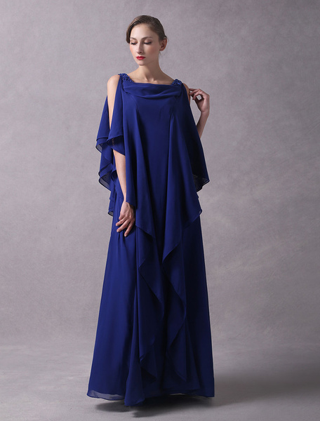 Milanoo Evening Dresses Arabic Royal Blue Chiffon Cascading Ruffles Beaded Floor Length Wedding Guest Dress
