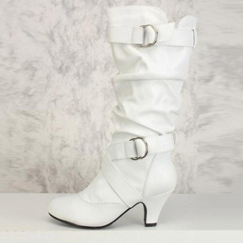 Ericdress Side Zipper Chunky Heel Calf High Slouchy Boots