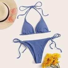 Ribbed Triangle Tie Side Bikini Swimsuit