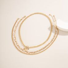 3pcs Solid Chain Necklace