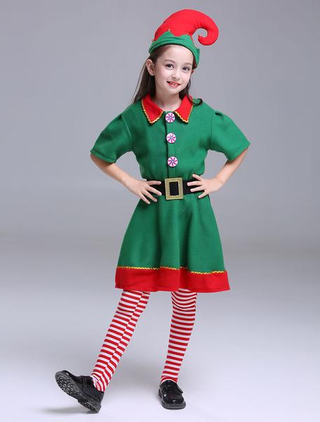 Milanoo Kids Christmas Elf Costumes Little Girls Half Sleeve Dresses Set 3 Piece Halloween