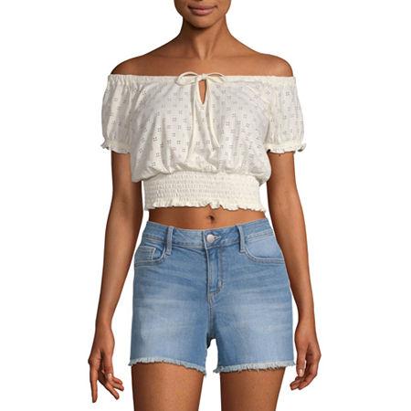 Arizona Womens Straight Neck Short Sleeve Blouse - Juniors, Medium , White