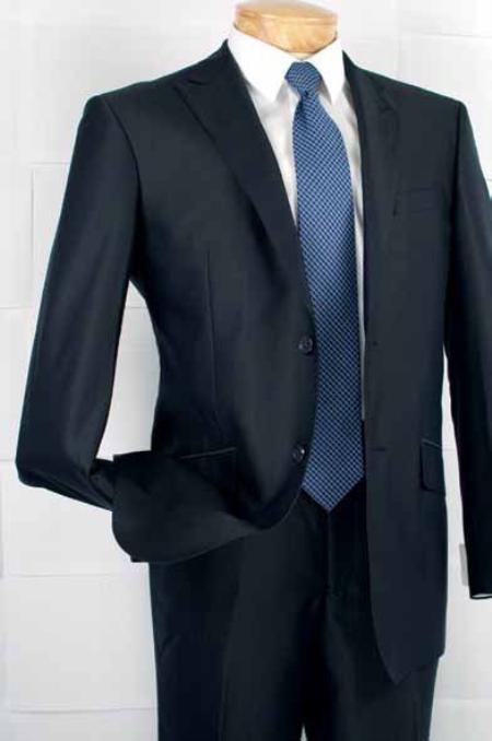 Mens Fashion Slim Fit Suit in Luxurious Wool Feel Navy