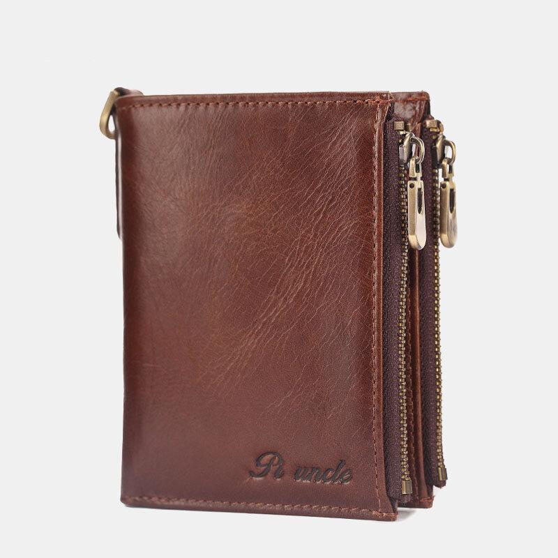 Men Genuine Leather Multi-Pocket RFID Blocking Wallet