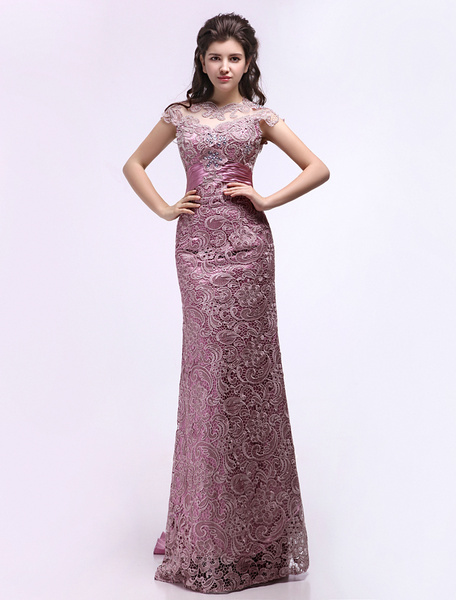 Milanoo Lace Backless Bridal Mother Dress With Keyhole Design