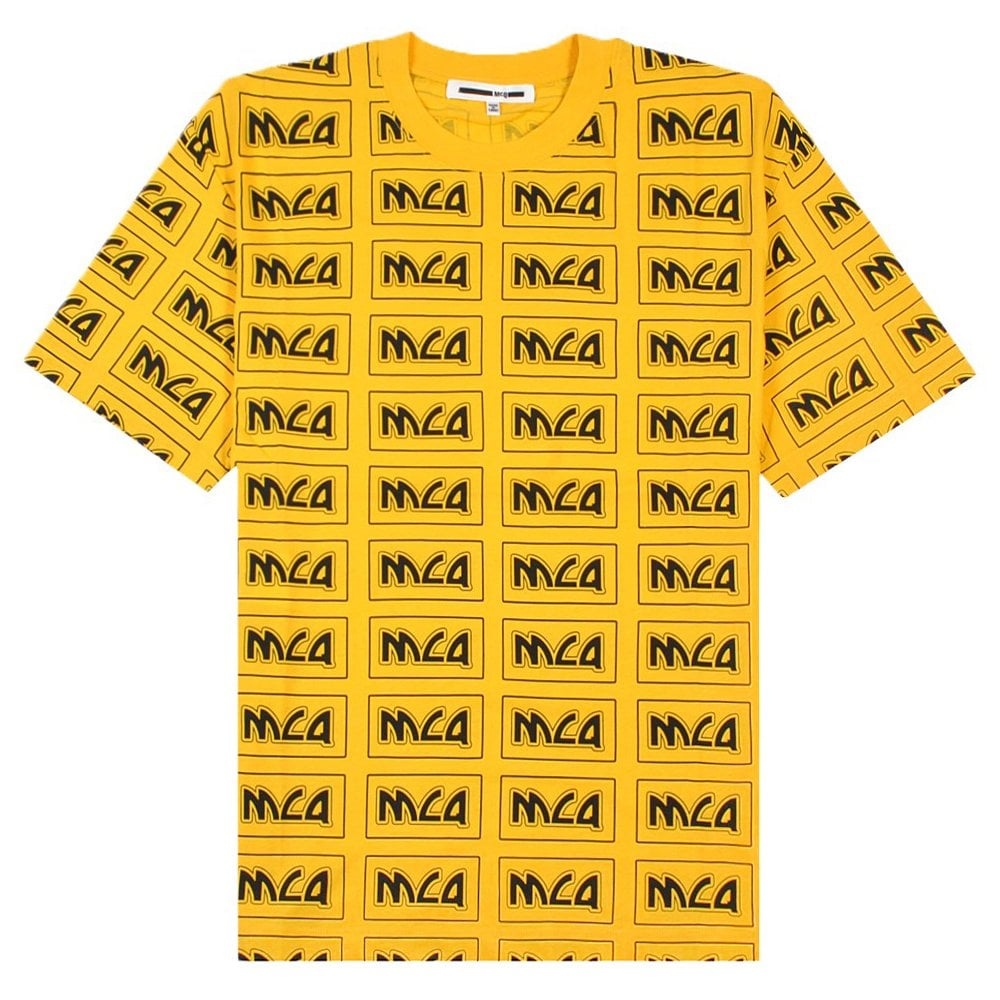 McQ Alexander McQueen All Over Logo T-Shirt Yellow Colour: YELLOW, Siz
